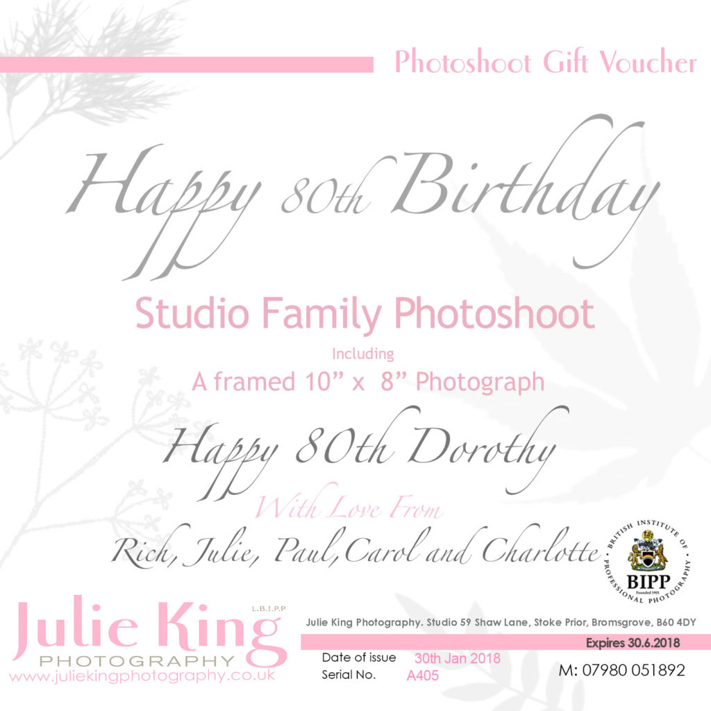 Gift Vouchers for a Family Portrait Worcestershire