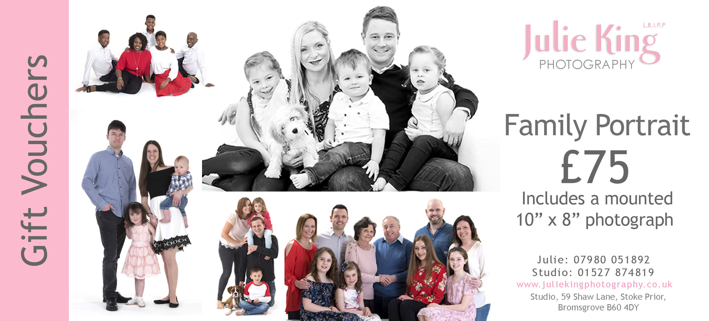 Gift Vouchers for a Family Photoshoot  portrait Worcestershire