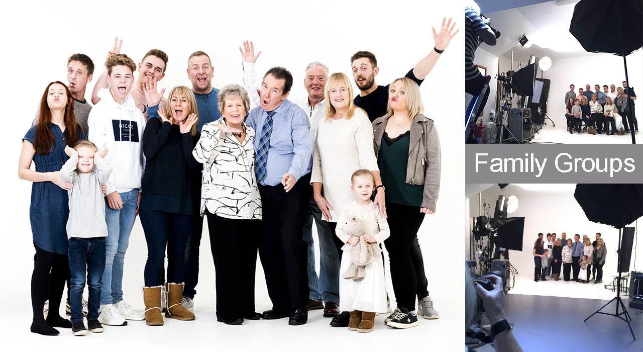 Family portraits large groups, Studio portraits Worcestershire